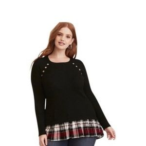 Torrid Ribbed 2fer sweater with plaid hem